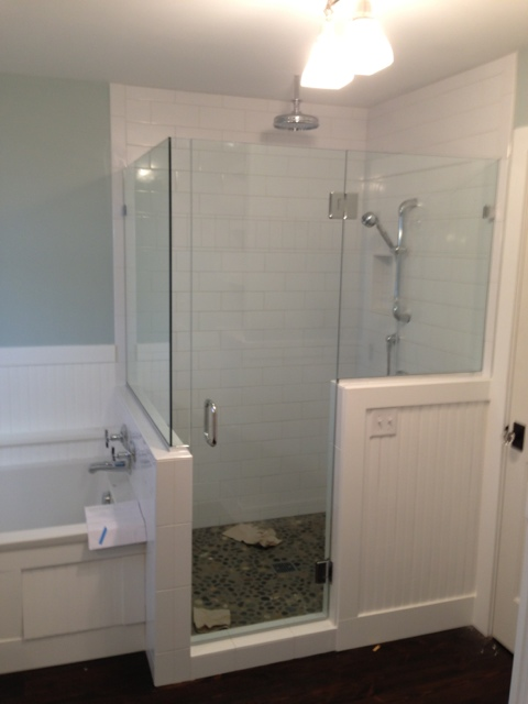 Headerless Shower Door with glass to glass hinges