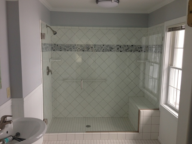 Large Shower with decorative tile
