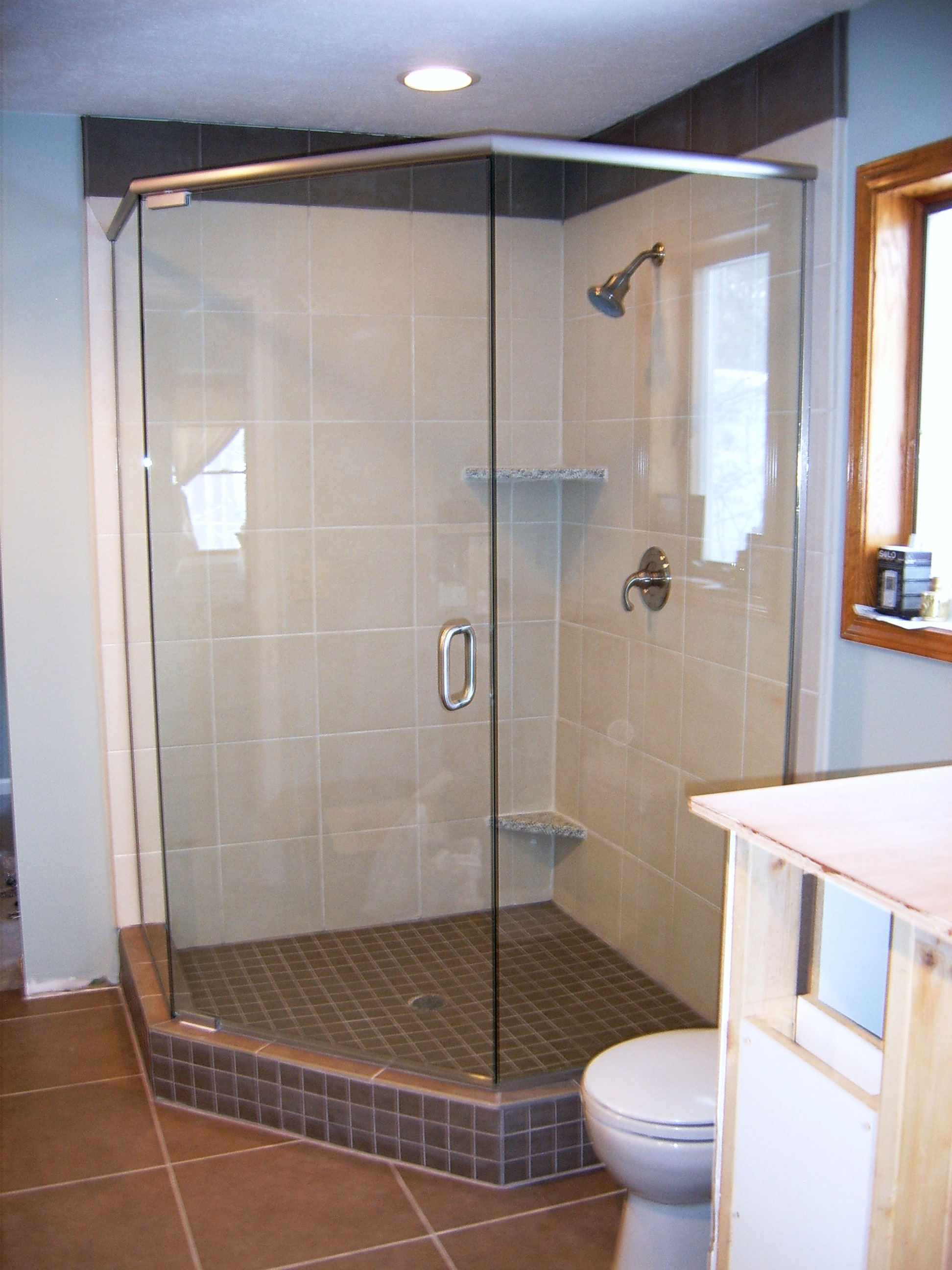 octagon style shower glass door brown tile traverse city - twin bay glass