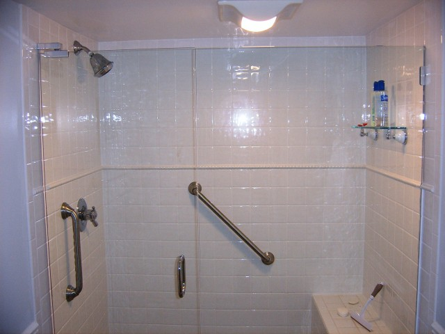 white tile with dual glass