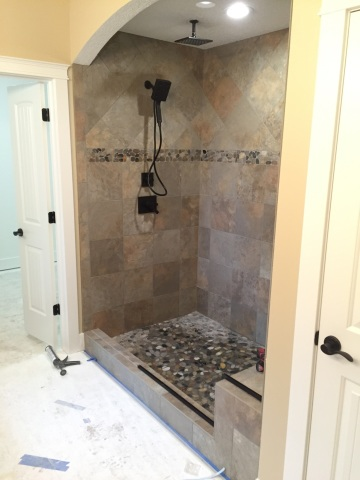 Frame less shower door with Iron rubbed bronze hardware