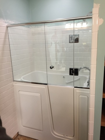 shower door installed onto a walk in tub - Bathtub Shower Doors