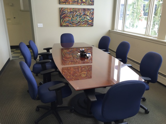 custom conference room table cover - twin bay glass
