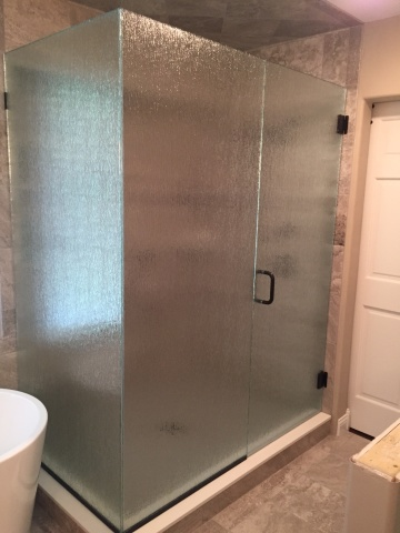 Rain glass shower with oil rubbed bronze hardware