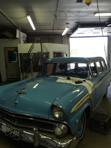 55 Ford Squire got some stone chips filled