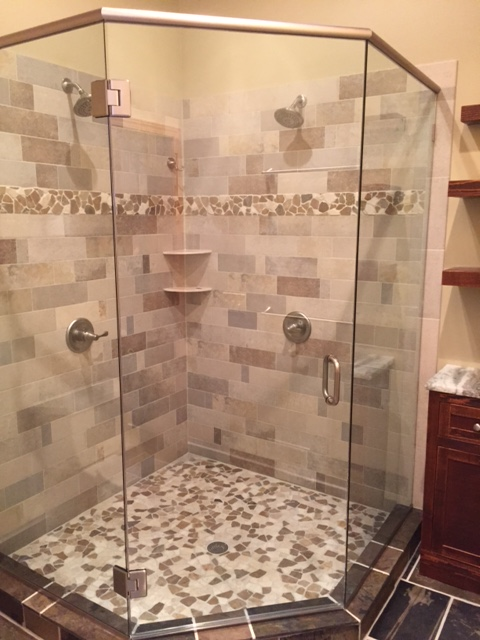 Neo Angle shower with Brushed nickel hardware